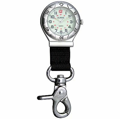 First Hand Healthcare Lobster Clip Belt Watch Brushed Silver Paramedic Nurse