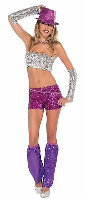 Sequin Mini Costume Shorts Adult: Magenta One Size