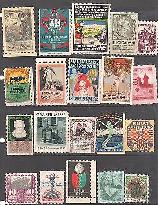 Poster Stamps, A Collection Of 20 Various Countries Exhibition Labels