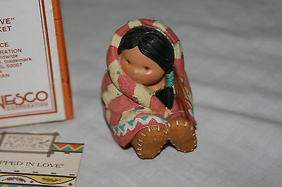 Enesco Friends of the Feather 1994 Wrapped in Love Girl with Blanket Figurine