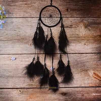 Handmade Dream Catcher with Black Feather Home Wall Hanging Decoration Ornament