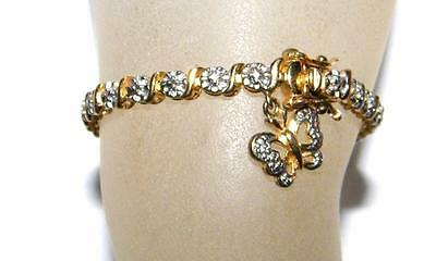 GOLD & STERLING TENNIS BRACELET with BUTTERFLY CHARM