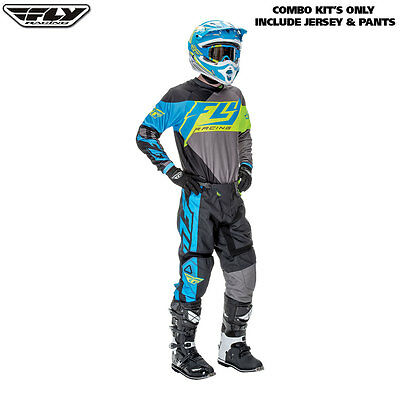 "New 38"" XXL Adult Fly F-16 Combo Jersey Pants Kit Blue Hi Vis Motocross Sale!"