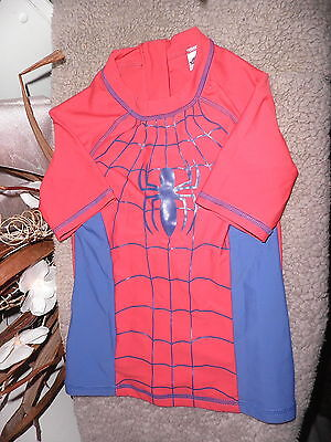 Boys Spiderman Red Mix Sunsafe Beach/surf Top Age 7-8 Years