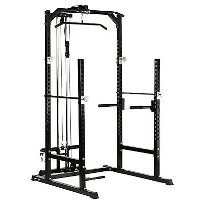 MIRAFIT Heavy Duty Half Power Cage Squat Gym Rack & Cable Pull Up/Down/Row/Curl