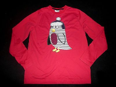 HANNA ANDERSSON Boys Red Winter Penguin L/S Tee T-Shirt Top Size 160