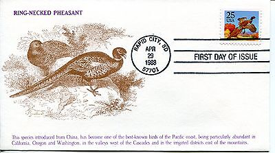 1988 Ring-Necked Pheasant Booklet Stamp Kmc Venture Cachet Unaddressed Fdc