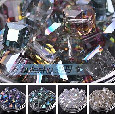 5pcs 14mm Big Cube Square Crystal Glass Faceted DIY Charms Loose Spacer Beads