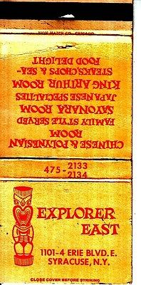 Explorer East Chinese Polynesian Room Syracuse New York NY Vintage Matchcover