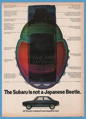 1971 Subaru FF-1 is not a Japanese Beetle blue two door vintage classic car ad