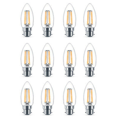 12x Philips LED 40w Dimmable B22 Bayonet Warm White Candle Light Bulb Lamp 470Lm