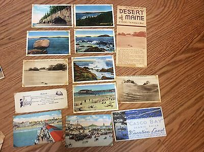 23 1930s postcards +12 other travel items Maine Maryland New Hampshire COnn