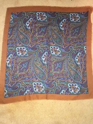 """Vintage 1980S Paisley Style Tan/teal/purple Shawl/scarf - 31"""" X 29"""" Approx"""