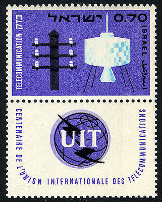 Israel 294 tab, MNH. ITU, cent. Telegraph Pole and Syncom Satellite, 1965