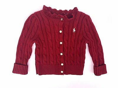 NWT Girls Ralph Lauren Dark Red Cardigan Jumper age 12 months or 18 months