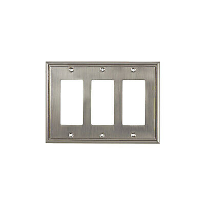 Rok Wall Light Switch Plate Rocker Toggle Cover Decorative Brushed Nickel 3 Gang