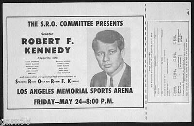R.F. Kennedy Concert Handbill Poster  The Byrds Jerry Lewis Sonny & Cher 1968 LA