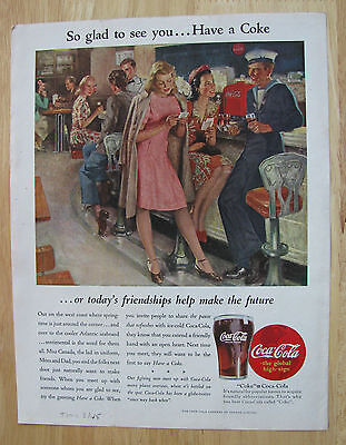 0533 Magazine Ad Two Young Ladies and a Sailor Meet over Coca Cola Sodas 1945