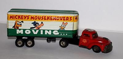 """EX!DISNEY 1950's""""MICKEY'S MOUSKEMOVERS"""" TIN """"FRICTION DRIVE"""" 2 PIECE MOVING VAN"""