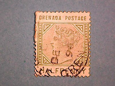 Grenada. QV 1883 ½d Dull Green. SG30. Wmk Crown CA inverted. P14. Used.