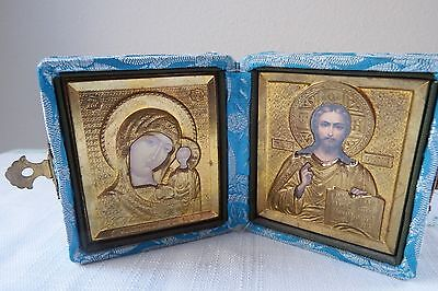 Vintage Russian Silk Book Russian Gold Foil Icon Brass Clasp