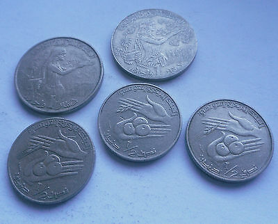 Tunisia, 1/2 & 1 Dinar Coins in Good Condition.