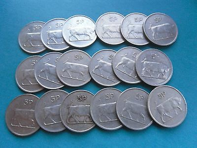 Ireland, 18 old Large Five Pence Coins as shown.