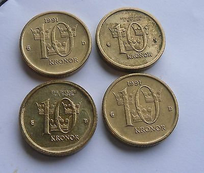 Sweden , 4 - 10 Kronor Coins in Good Condition.