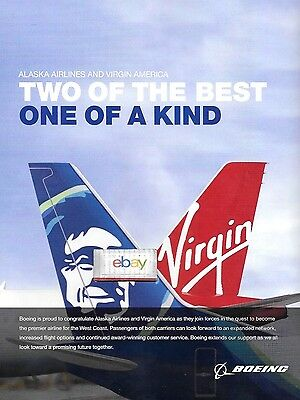 Alaska Airlines & Virgin America Two Of The Best One Of A Kind Boeing 2017 Ad