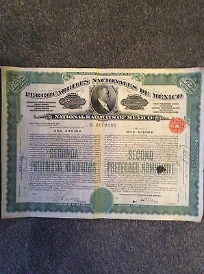 National Railways Of Mexico One Share Coupons  INVALID SHARE CERTIFICATE