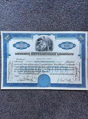 Mission Development Co. Dated 1954 100 Shares  INVALID SHARE CERTIFICATE
