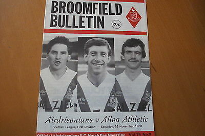 Airdrieonians (Airdrie) V Alloa Athletic                                26/11/83