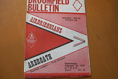 Airdrieonians (Airdrie) V Arbroath                                       28/2/79