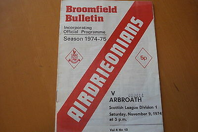Airdrieonians (Airdrie) V Arbroath                                       9/11/74