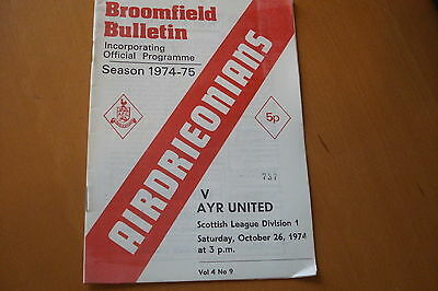 Airdrieonians (Airdrie) V Ayr United                                    26/10/74