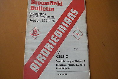 Airdrieonians (Airdrie) V Celtic                                         22/3/75
