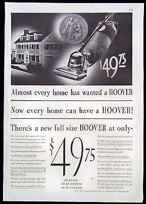 Vintage 1935 Hoover Vacuum Cleaner Magazine Ad Every Home Wanted Now Has