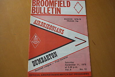 Airdrieonians (Airdrie) V Dumbarton                                     11/11/78