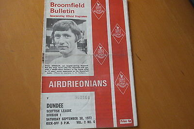 Airdrieonians (Airdrie) V Dundee                                         30/9/72