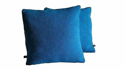 2 Pillow Covers Mid Century Maharam Kvadrat Coda Wool Bright Blue 464480 - B4