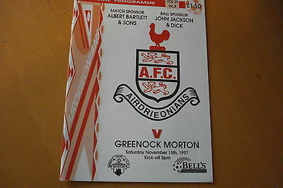 Airdrieonians (Airdrie) V Morton                                        15/11/97
