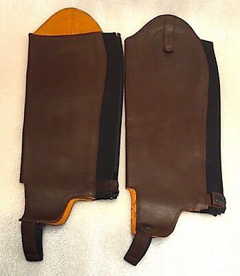 New MONTAR Strong Tuff Horse Riding Adult  leather  half chaps - MEDIUM  (Brown)