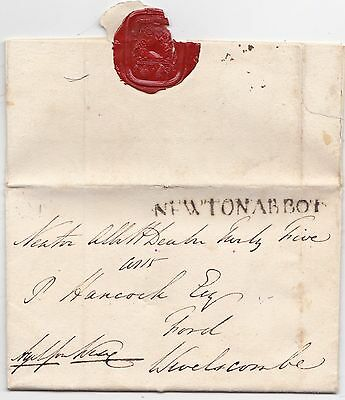 1815 Newton Abbot Free Letter A Wise To Hancock At Ford Wiveliscombe Somerset