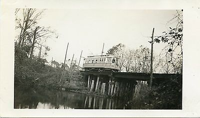 6A212 RP 1930s? UNITED ELECTRIC RAILWAY PROVIDENCE RI CAR #1872 ON TRESTLE