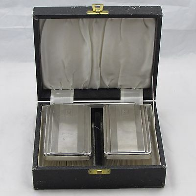 Vintage Mens Pair Silver Clothes Brush Set And Comb In Case 1964 Birmingham