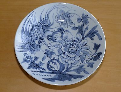 Hand Decorated Antique Oriental Pottery Bird & Flower Plate or Bowl, Chinese?
