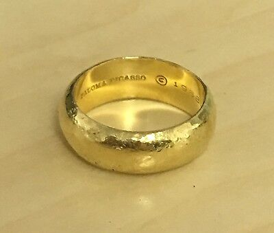 Tiffany & Co. Paloma Picasso Hammered Gold Wide Band Ring Size 6.5