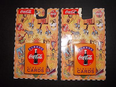 "Lot of (2) COCA COLA MINI PLAYING CARDS ALWAYS COKE 1 3/4"" X 2"" SIZE DRINK"