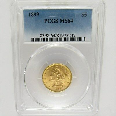 1899 Liberty Head Gold Half Eagle $5 - Certified & Graded PCGS MS64 Mint State
