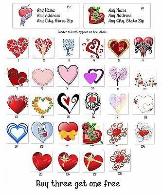 30 Personalized Return Address labels Wedding Hearts Buy 3 get 1 free {ht6}
